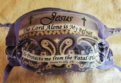 "LAVENDER FACE MASK- Psalm 91 ""He Protects me from the Fatal Plague"""