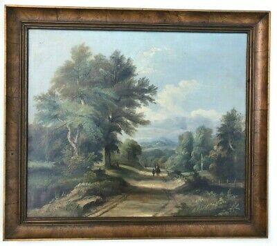 Early 19th Century Oil Painting On Canvas Rural Landscape