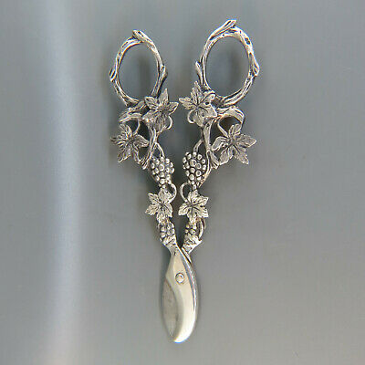 Antique European Silver Grape Shears, Elaborate .830 Silver
