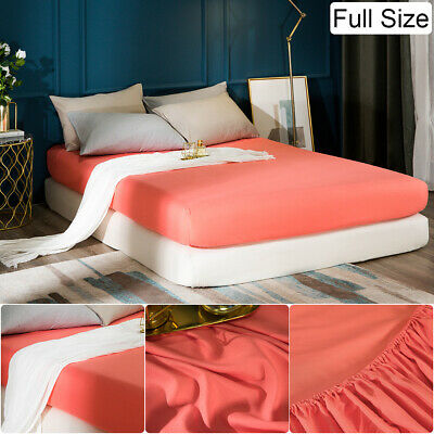 16'' Extra Deep Bed Fitted Sheet Elastic Bottom Sheet Microfiber Full Size Coral