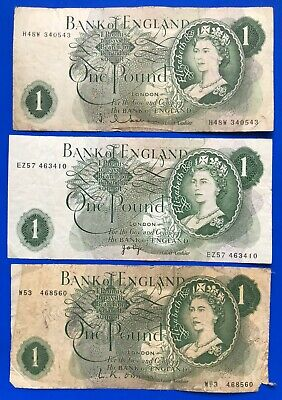 3x Bank of England One pound, O'Brien Hollom Page banknotes *[19462]