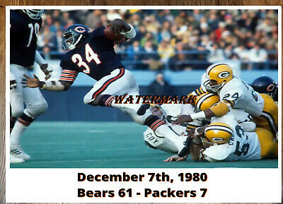 NFL 1980 Walter Payton Chicago Bears vs Green Bay Packers Color 8 X 10 Photo