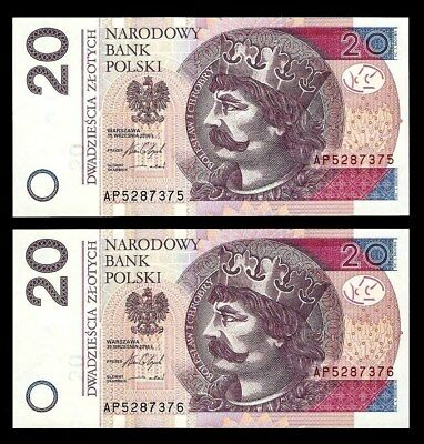 Poland 20 Zlotych  Set Two Banknotes 2016  UNC Consecutive Number