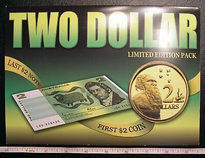 1988 Australia FIRST $2 Coin LAST $2 Banknote Set