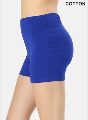 Zenana Outfitters L Shorts Wide Waistnand  Premium Stretch Cotton Blend Royal
