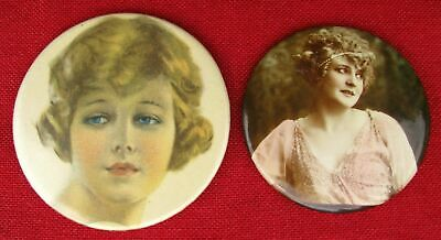 TWO DIFFERENT GENTLENAM'S PRETTY LADY ROUND POCKET MIRRORS 1920s