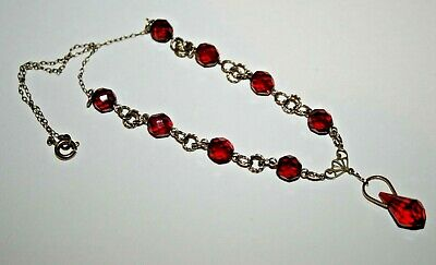 Antique Art Deco Czech Ruby Red Faceted Beads Rolled Gold Necklace Jewellery Old
