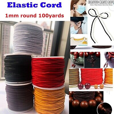 1 Roll Elastic string Perfect for DIY mask Ear Hanging Cord 100Yards 1mm Round