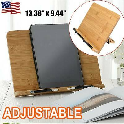 Book Stand Bible Wood Reading Holder Desk Cookbook Paper Clip Tray Rack Portable