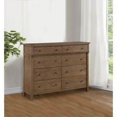Transitional 8 Drawers Wood Dresser with Metal Knobs , Brown Brown 8-drawer