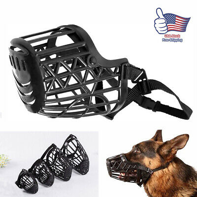 Large Pet Dog Basket Muzzle Mouth Cover Mesh Cage NoBarking Biting Chewing Black