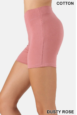 Zenana Outfitters M Shorts Wide Waistnand  Premium Stretch Cotton Blend Rose