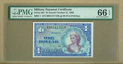 $1 Military Payment Certificate Series 661 First Printing PMG 66 EPQ GEM UNC
