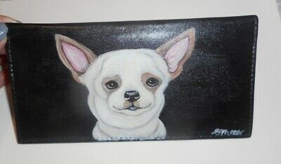 Chihuahua dog Hand Painted Leather Deluxe Checkbook Cover