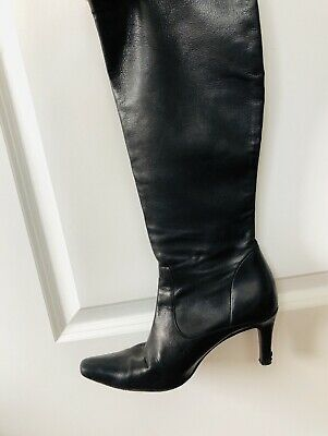 Black Genuine Leather Boots Womens Size 8 Pre-Owned Unknown Brand Almost Vintage