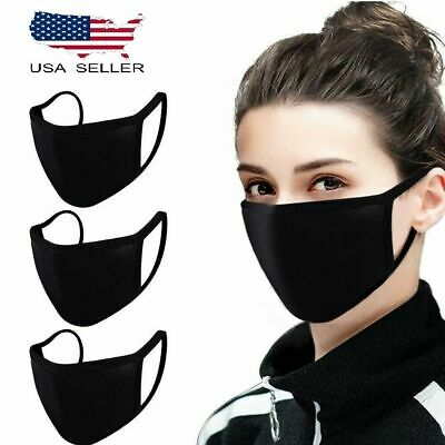 3 pack Reusable face mask Mesh washable unisex black Soft Breathable 2 layers