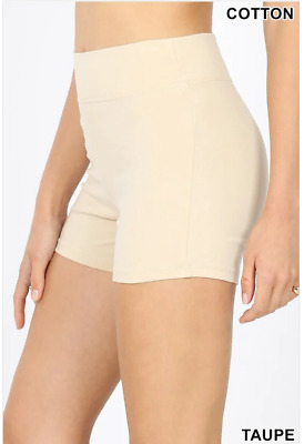 Zenana Outfitters M Shorts Wide Waistnand  Premium Stretch Cotton Blend Taupe