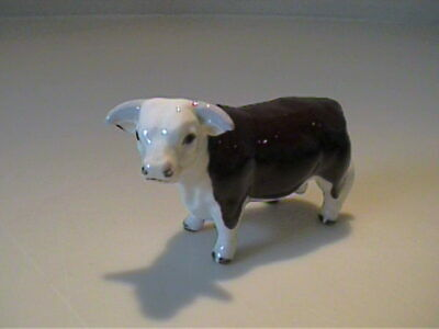 Vintage 1957 Miniature Hagen Renaker Brown & White Hereford Bull