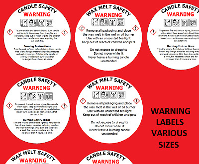 WAX .CANDLE SAFETY WARNING STICKERS WARNING Instructions requirement Labels