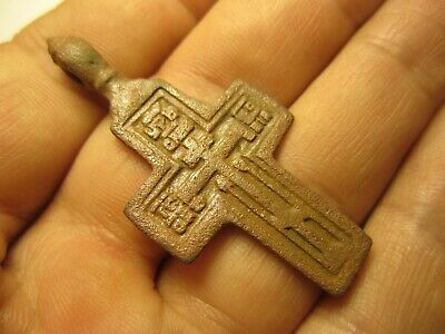 """ANTIQUE 18-19th CENTURY LARGE ORTHODOX """"OLD BELIEVERS"""" ORNATE CROSS PSALM 68 K81"""
