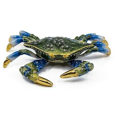 "Bejeweled Enameled Pewter Blue Crab Trinket Box With Crystals 4.25"" Wide New!"