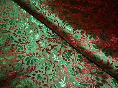 Best Vintage Luminous Red Green Floral Faux Silk Satin Brocade Fabric ~