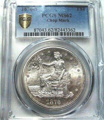 1876-S PCGS - MS62 Trade Dollar - Blast White - Uncirculated Gem - Stunning