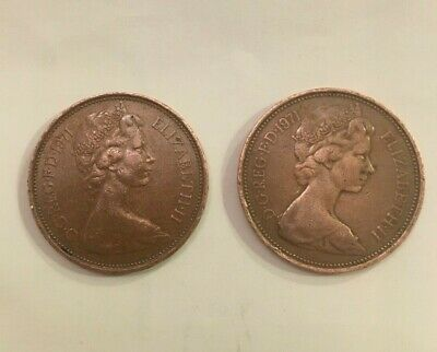 3 X 2p 'New Pence' coins - 1971 (x2) & 1980. Old Coin & Circulated.