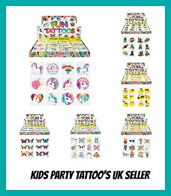 12 KIDS TEMPORARY TATTOOS Mixed Designs Party Bag Filler Loot Girls and Boys