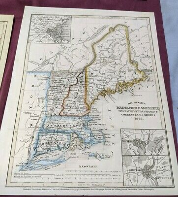 1850 United States State Maps, Northeast, Northern, and Central US States