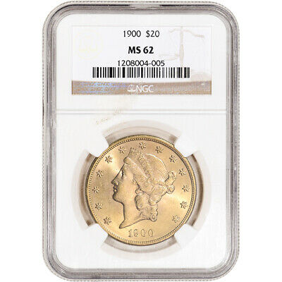1900 US Gold $20 Liberty Head Double Eagle - NGC MS62