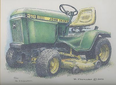 John Deere 318 L&G Tractor Limited Edition Signed Print #'d 1/500 ... Print #1