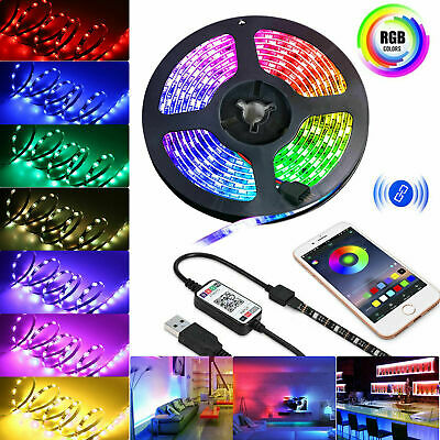 USB 5V Powered 5050 SMD Tape RGB LED Strip Light Flexible Waterproof 1/2/3/4/5M
