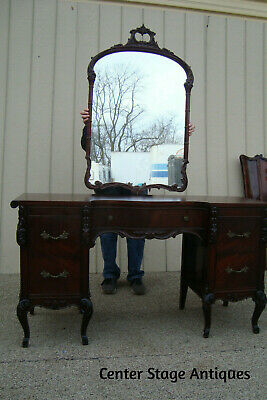60774 Antique Mahogany Vanity with Mirror