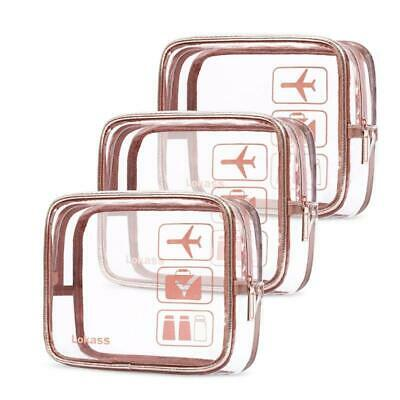 3Pc Travel Luggage Pouch Carry On Clear Airport Airline Compliant Makeup Bag