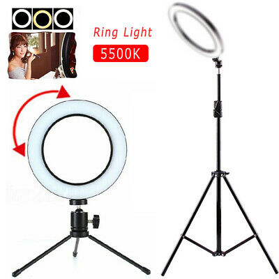 """8"""" Dimmable LED Ring Light For Studio Makeup Camera Video Lighting with Tripod"""