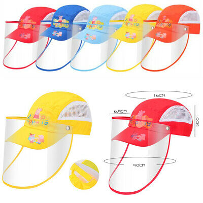 Safety Face Shield Hat For Kids Cute Piggy Mesh Back Adjustable Closure Sun Cap