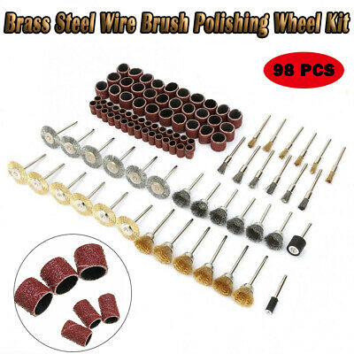 98x Stainless Steel Wire Cup Mix Brush Set With Sand Ring For Dremel Rotary Tool