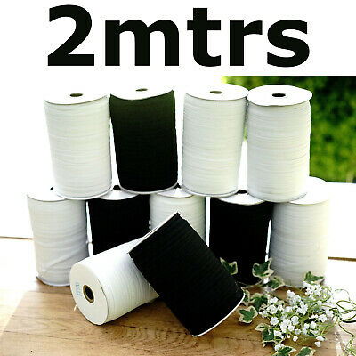 2mtrs QUALITY White or Black Flat Elastic Cord 6mm For Sewing face Masks narrow
