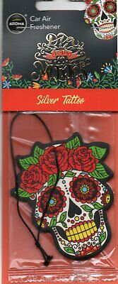Aroma - Car Air Freshener - Skull - Silver Tattoo               *New And Sealed*