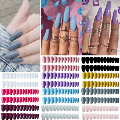 24 Pieces Fake Nails Reusable Stick On Nails Press On Full Cover False Nail Tips