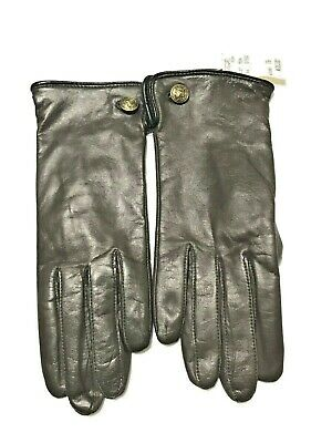 New Ladies Talbots GRANDOE 7-1/2 Brown Soft Leather Gloves With Button Trim