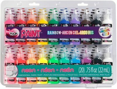 Tulip 10046125 Dimensional Fabric Paint Party Pack, UNITS,Multi-color,20 Packs