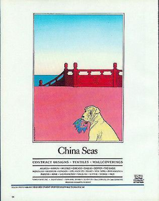 1984 AD Guy Billout Humor China Textile Puppy Dog