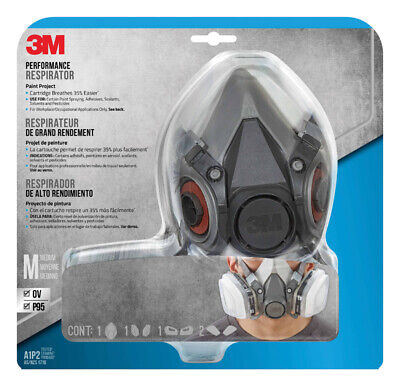 3M Project Respirator Reusable 1/2 Face Multi-Purpose, Size Medium, Fast Shipng