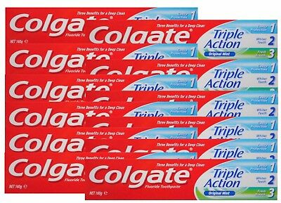 12 x Colgate 160g TOOTHPASTE TRIPLE ACTION ORIGINAL MINT - NEW