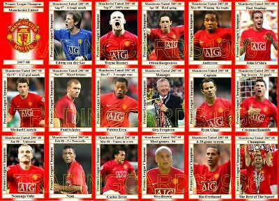 Manchester United 2008 Premier League Champions Football Trading Cards 2007-08