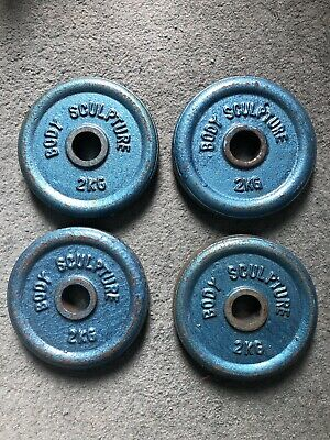 2kg Weight Plates X4 Cast Iron Body Sculpture Gym Exercise 1inch Hole 8kg