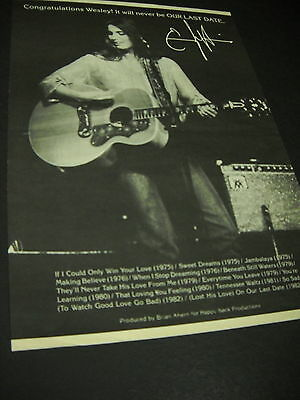 EMMYLOU HARRIS ...it will never be OUR LAST DATE 1982 Promo Display Ad mint cond