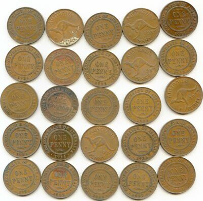 Australia  Penny  lot of (20) vintage coins   lotmay5041